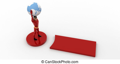 3d superhero standing on exclamation mark with earth model in hand concept