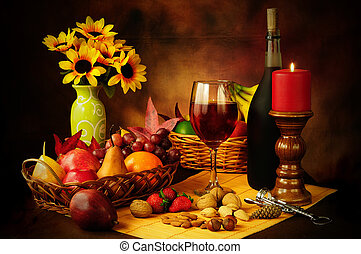 Wine, fruit and nuts still life - Beautiful still life image...