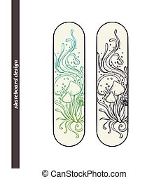 Skateboard Design Abstract Mushroom Four - Design skateboard...