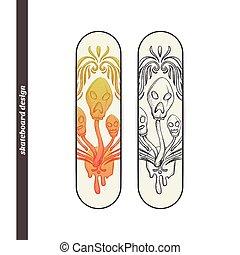 Skateboard Design Abstract Mushroom Three - Design...