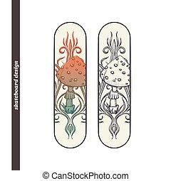 Skateboard Design Abstract Mushroom Two - Design skateboard...