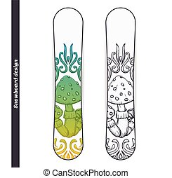 Snowboard Design Abstract Mushroom One - Design snowboard...