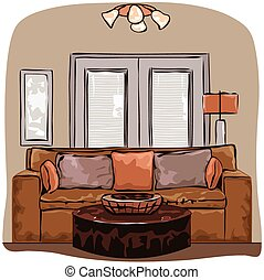 Drawing-room. Editable vector illustration of an outline...