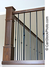 Bannister with wrought iron and stained oak - Bannister with...