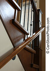 Custom staircase, wrought iron and stained oak - Custom...