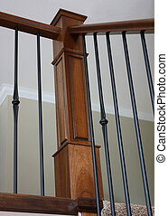 Corner bannister, wrought iron and oak - Corner bannister,...