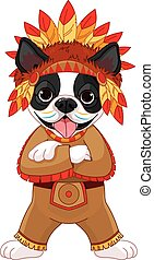 Native American Boston Terrier - Illustration of cute Boston...
