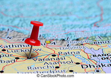 Varanasi pinned on a map of Asia - Photo of pinned Varanasi...