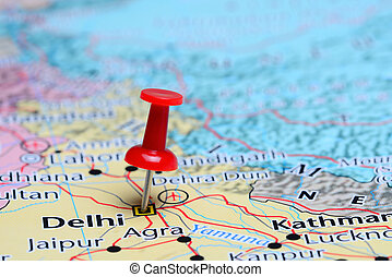 Delhi pinned on a map of Asia - Photo of pinned Delhi on a...