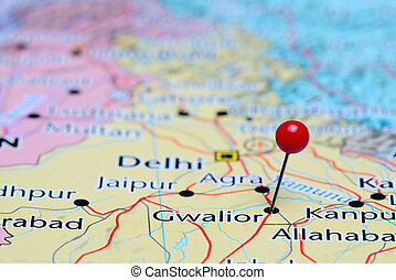 Gwalior pinned on a map of Asia - Photo of pinned Gwalior on...