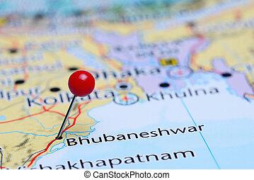 Bhubaneshwar pinned on Asia map - Photo of pinned...