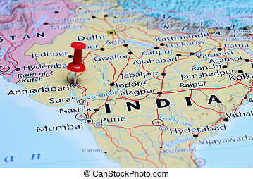 Ahmadabad pinned on a map of Asia - Photo of pinned...