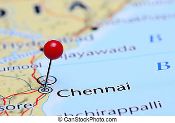 Chennai pinned on a map of Asia - Photo of pinned Chennai on...