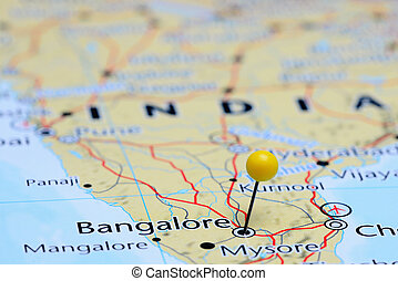 Bangalore pinned on a map of Asia - Photo of pinned...