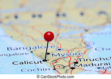 Calicut pinned on a map of Asia - Photo of pinned Calicut on...