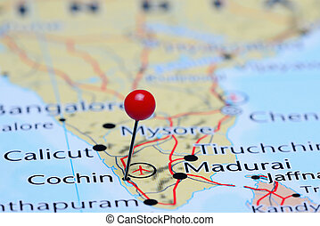 Cochin pinned on a map of Asia - Photo of pinned Cochin on a...