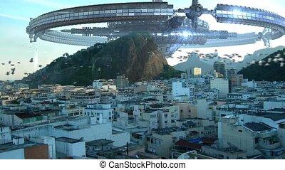 UFO fleet invading Rio De Janeiro - A fleet of wheel-shaped...
