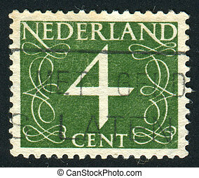 postmark - NETHERLANDS - CIRCA 1953: Stamp of the...