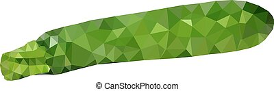 Low polygonal courgette zucchini - abstract mosaic isolated...