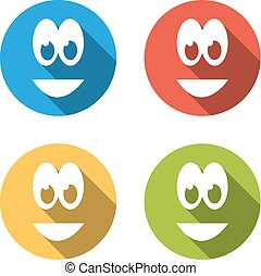 Collection of 4 isolated flat colorful icons emoticons for...