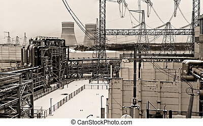 nuclear power plant - black and white photo of the nuclear...