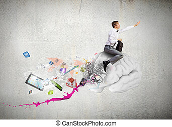 Master of creativity - Conceptual image of young businessman...
