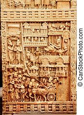 Pillar Carving at Stupa, Sanchi - Carving on pillar...