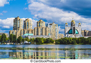 Residential buildings over a river