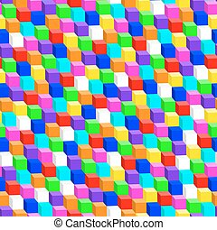 Colorful 3D cube in a seamless pattern