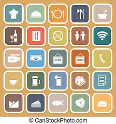Restaurant flat icons on brown background