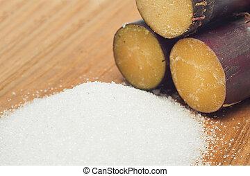 azúcar, bastón, en, madera, Plano de fondo,