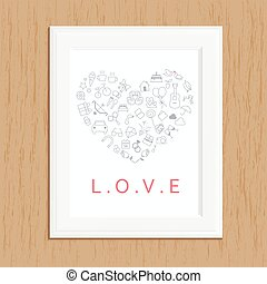 love icon photo frame on wood,love icon set on wood