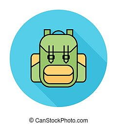 Rucksack. Single flat color icon on the circle. Vector...