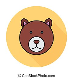 Bear icon - Bear Single flat color icon on the circle Vector...