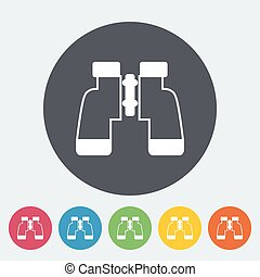 Binoculars Single flat icon on the circle button Vector...