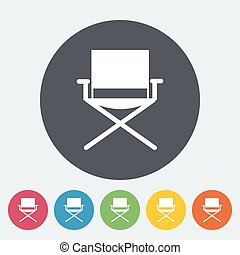 Camping chair. Single flat icon on the circle. Vector...