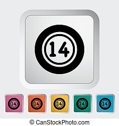 Lottery ball Single flat icon on the button Vector...