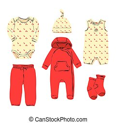 Baby clothes sketch. Wardrobe for small girl.