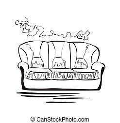 Sofa gezeichnet  Vektor Illustration von gezeichnet, skizze, hand, card., sofa ...