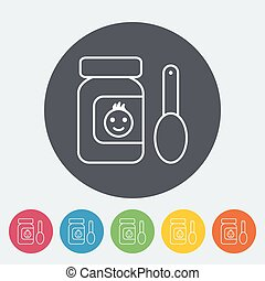 Baby food icon Thin line flat vector related icon for web...