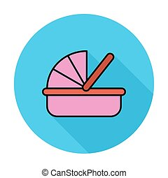 Cradle icon. Flat vector related icon whit long shadow for...