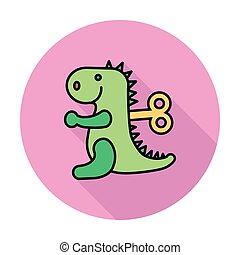 Dinosaurus toy icon Flat vector related icon whit long...