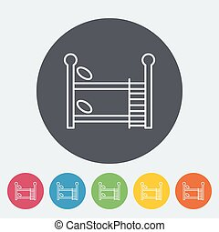 Bunk bed icon Thin line flat vector related icon for web and...
