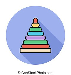 Pyramid toy icon. Flat vector related icon whit long shadow...
