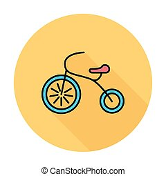 Tricycle icon. Flat vector related icon whit long shadow for...