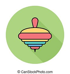 Whirligig icon. Flat vector related icon whit long shadow...
