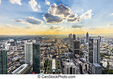view to skyline of Frankfurt from Maintower - view to...