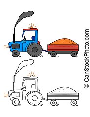 Tractor with siding - coloring book