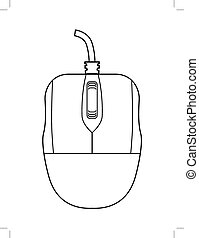 computer mouse - outline illustration of computer mouse