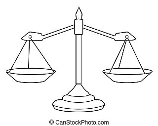scales of justice - outline illustration of scales of...